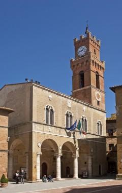 Palazzo del Comune, Piazza Pio II, Pienza, middelalder, romansk, historisk, renessanse, Toscana, Midt-Italia, Italia