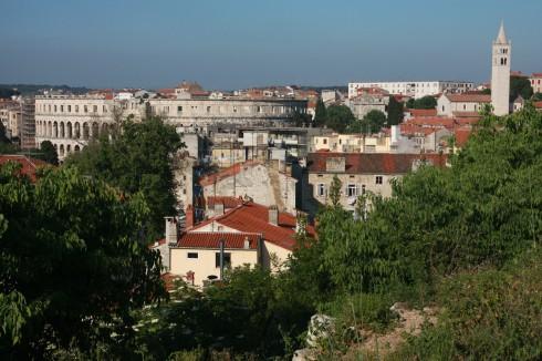Pula, gamlebyen, historisk bysenter, romertid, amfiteater, Istria, Kroatia