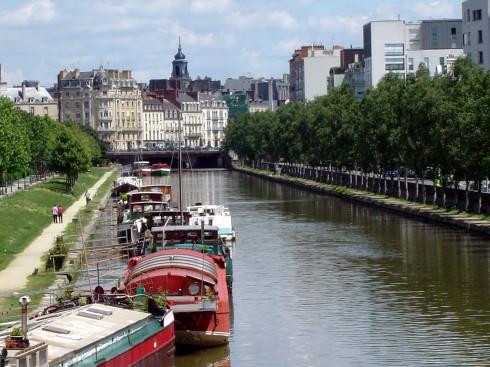 Quai Chateaubriand, La Vilaine, Rennes, historisk, bindingsverkshus, gamleby, middelalder, Bretagne, Vest-Frankrike, Frankrike