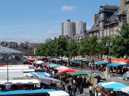 Place de Leces, Rennes, historisk, bindingsverkshus, gamleby, middelalder, Bretagne, Vest-Frankrike, Frankrike
