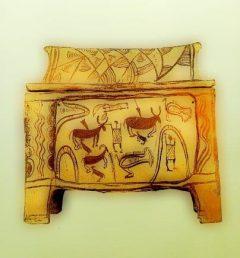 Larnax med jaktscene fra Armenoi, Rethymnon arkeologiske museum, Kreta, Hellas
