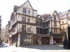 gotiske middelalderkirken Eglise St Maclou, Rouen, bindingsverk, Vieux Ville, Unescos liste over Verdensarven, Normandie, Vest-Frankrike, Frankrike