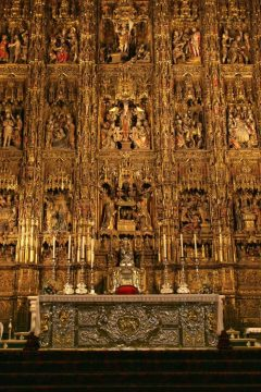 Retablo Mayor, Sevilla, Catedral de Santa María de la Sede, Guadalquivir, Unescos liste over Verdensarven, historisk bydel, gamleby, Andalucia, Spania