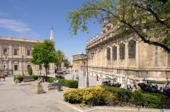 La Lonja, Sevilla, Catedral de Santa María de la Sede, Guadalquivir, Unescos liste over Verdensarven, historisk bydel, gamleby, Andalucia, Spania