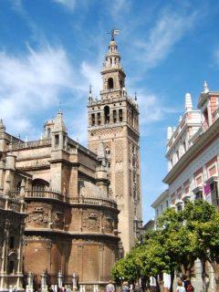 La Giralda, Sevilla, Catedral de Santa María de la Sede, Guadalquivir, Unescos liste over Verdensarven, historisk bydel, gamleby, Andalucia, Spania