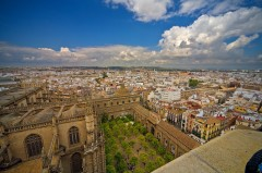 Appelsinhagen Patio de los Naranjos, Sevilla, Catedral de Santa María de la Sede, Guadalquivir, Unescos liste over Verdensarven, historisk bydel, gamleby, Andalucia, Spania