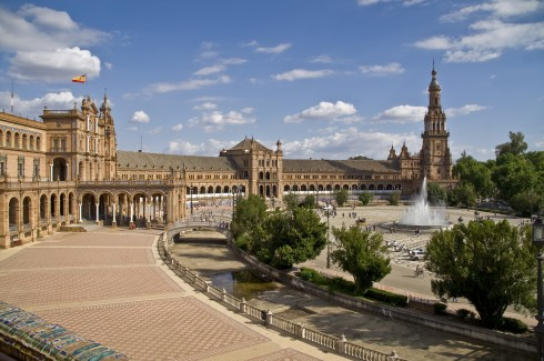 Plaza de Espana, Sevilla, Catedral de Santa María de la Sede, Guadalquivir, Unescos liste over Verdensarven, historisk bydel, gamleby, Andalucia, Spania