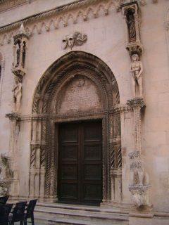 Løveportalen med Adam og Eva, Sibenik, Adriaterhavet, gamlebyen, historisk bysenter, Unescos liste over Verdensarven, middelalder, renessanse, Zadarkysten og øyene, Kroatia