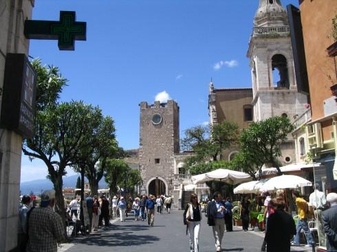 Torre oroligico, Taormina, Sicilia, antikken, Sør-Italia, Italia