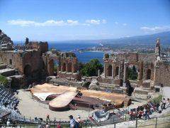 Taormina, Sicilia, antikken, normannere, Sør-Italia, Italia