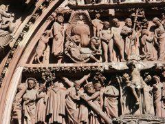 Cathédrale de Notre Dame, tympanon, Strasbourg, Grand Ile, bindingsverk, Unescos liste over Verdensarven, Nord-Frankrike, Frankrike