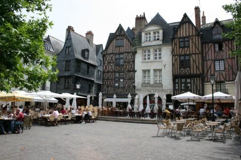 Place Plumerau, Tours, middelalder, bindingsverk, historisk bysenter, Indre-et-Loire, Loiredalen, Vest-Frankrike, Frankrike