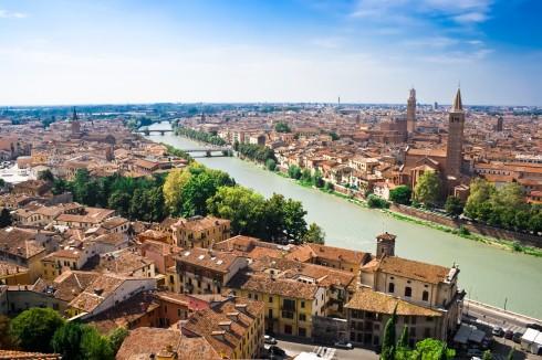 Adige, Verona, Arena, Unescos liste over Verdensarven, romerriket, antikken, historiske bydeler, gamlebyen, Veneto, Nord-Italia, Italia