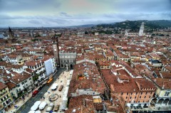 Piazza Erbe, Verona, Arena, Unescos liste over Verdensarven, romerriket, antikken, historiske bydeler, gamlebyen, Veneto, Nord-Italia, Italia