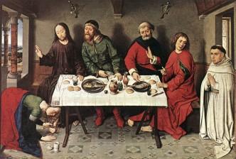 Gemäldegalerie, Berlin: Kristus i Simons hus av Dierik Bouts, malt i 1440-årene