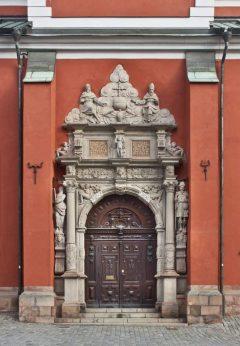 Stockholm, St Jakobs Kyrka, Sørportal, hugd av Henrik Blom, City, Sverige