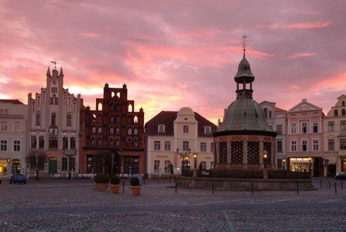 Marktplatz, Wismar, Østersjøen, Ostsee, Gamlebyen, Altstadt, Hansestadt Wismar, Mecklenburg Vorpommern, Nord-Tyskland