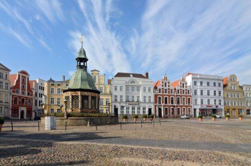 Wasserkunst Marktplatz, Wismar, Østersjøen, Ostsee, Gamlebyen, Unesco Verdensarv, Altstadt, Hansestadt Wismar, Mecklenburg Vorpommern, Nord-Tyskland