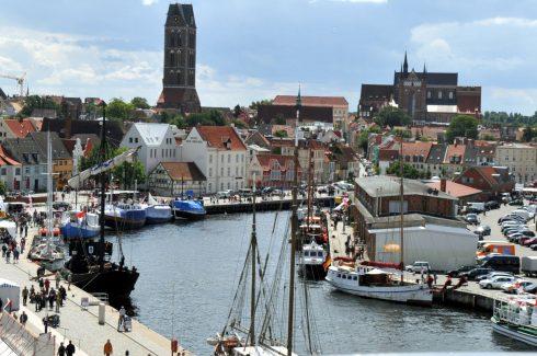 Alter Hafen, Wismar, Østersjøen, Ostsee, Gamlebyen, Altstadt, Hansestadt Wismar, Mecklenburg Vorpommern, Nord-Tyskland