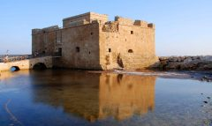 Paphos bysantisnke borg i Paphios havn, Kypros, Hellas