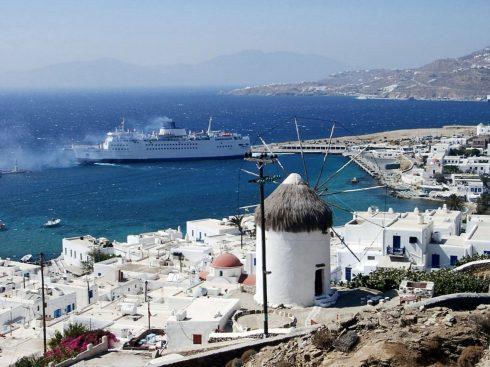 Mykonos, havnen, Kykladene, Hellas
