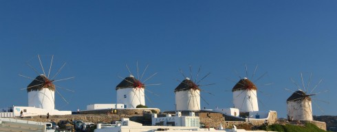 Mykonos - vindmøller på Mykonos, kykladene, Hellas