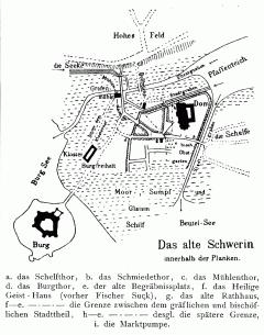 Schwerin_før_1340, Schwerin, Altstadt, Schweriner Schloss, Mecklenburg-Vorpommern, Nord-Tyskland