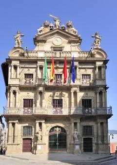 Spania, Pamplonas barokke rådhus, Baskerland, Navarra, Nord-Spania