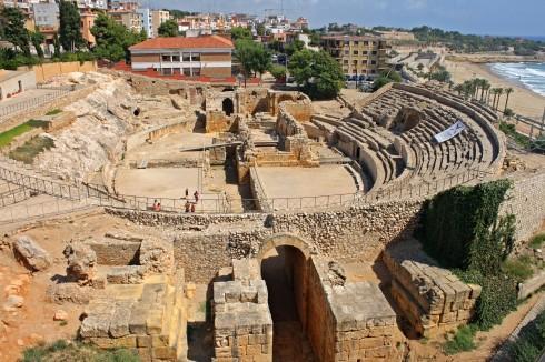 Romersk amfiteater i Tarragona, Costa Brava Catalonia, Spania