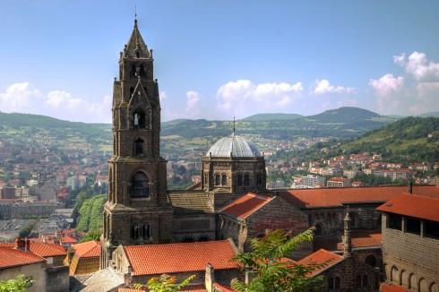 Le Puy-en-Velay, Cathédrale de Notre-Dame, romansk arkitektur, klosterhage, Unescos liste over Verdensarven, middelalder, tidlig kristendom, Massif Central, Sør-Frankrike