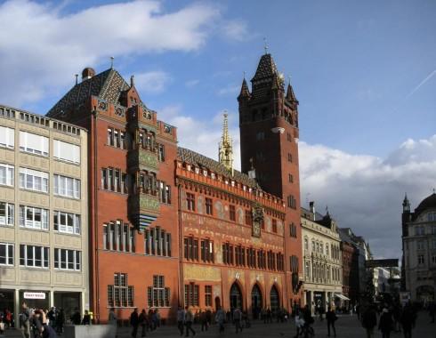 Basel, Rathaus, Rhinen, romertid, middelalder, kulturseverdigheter, gamlebyen, marktplatz, Sveits