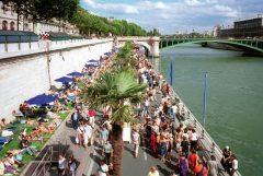 Paris, Plage, Pont Notre Dame, Louvre, Tuilerie, obelisken, Ile de Cité, Notre Dame, Ile de France, Unescos liste over Verdensarven, Seinen, Nord-Frankrike, Frankrike