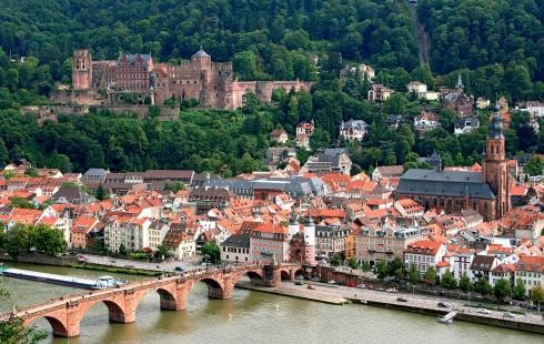 Heidelberg, Altstadt, Marktplatz, Schloss Heidelberg, Unescos liste over Verdensarven, Baden-Württemberg, Sør-Tyskland