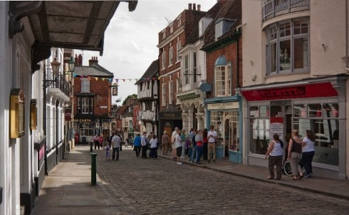 Lincoln, Bailgate, Castle Hill, Lincoln Cathedral, Minster, England, Brayford Pool, romertid, middelalder, Castle Hill, Magna Carta, Steep Hill, Bailgate, early british gothic