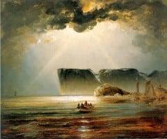 """""""Nordkapp"""" av Peder Balke, malt i cirka år 1840 - nasjonalromantikken gjelder og slektskapet til I.C. Dahl kan fornemmes"""