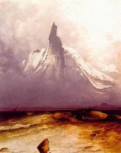 """Peder Balke: """"Stetind i tåke"""", 1861. Eksperimentelt og ekspressivt - malt i modne år."""