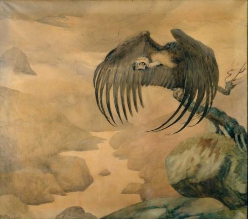 Elise Konstantin-Hansen, Grib, 1893. Akvarel og blyant på papir, 118,5 x 131,5 cm. Vejen Kunstmuseum - et specialmuseum for dansk symbolisme. Foto: Pernille Klemp
