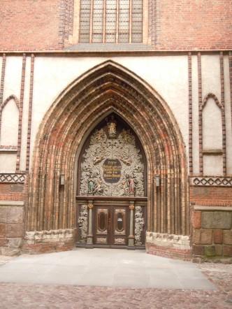 St. Nikolai-Kirche - den gotisk-barokke portalen fra rådhussiden, Unesco Verdensarv,  Stralsund, Nord-Tyskland