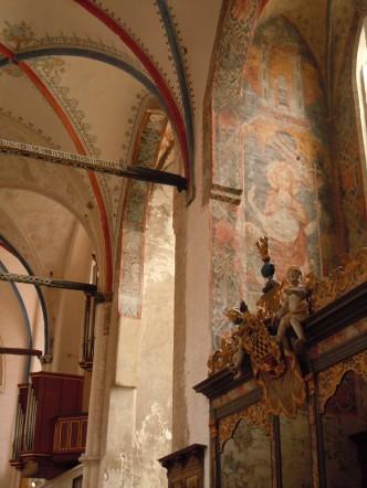 St. Nikolai-Kirche har innvendig dekor, malt på 1300-tallet, Unesco, Stralsund, Nord-Tyskland