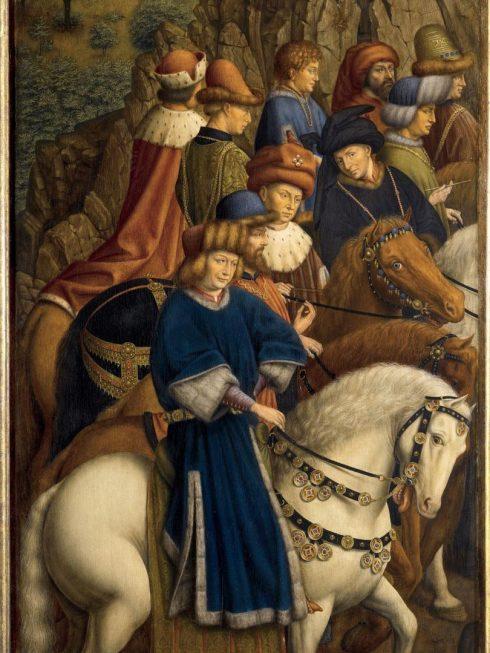 """Fra ett av de åtte restaurerte sidepanelene til altertavlen """"The Adoration of the Mystic Lamb"""" (1432) som etter utstillingen vil stå i St. Bavo Katedral i Gent."""