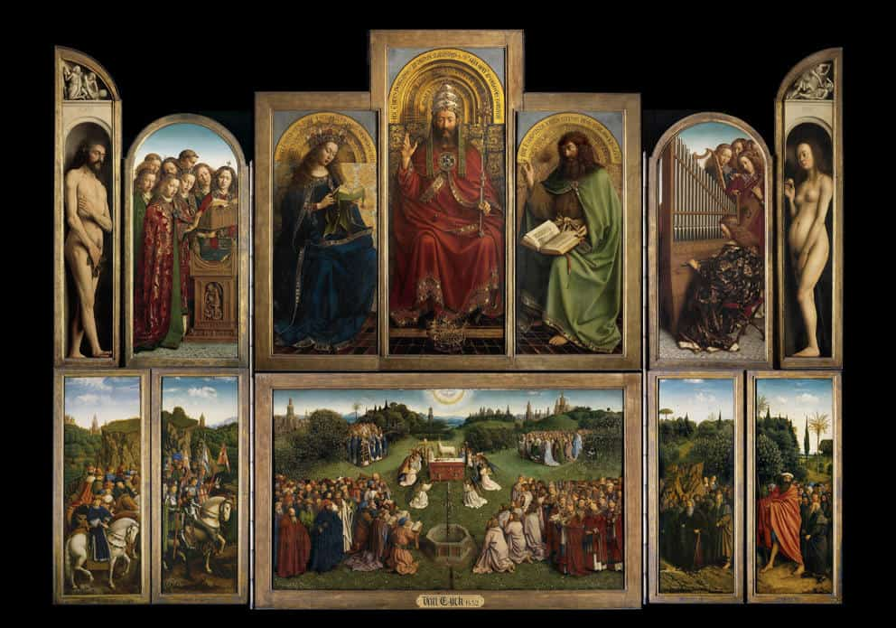 "Et av van Eycks mest kjente verk – altertavlen ""The Adoration of the Mystic Lamb"" (1432) i St. Bavo's Katedral i Gent"